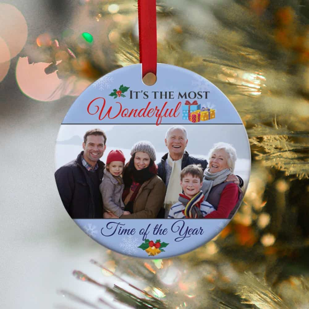 It's The Most Wonderful Time of The Year Family Photo Ornament