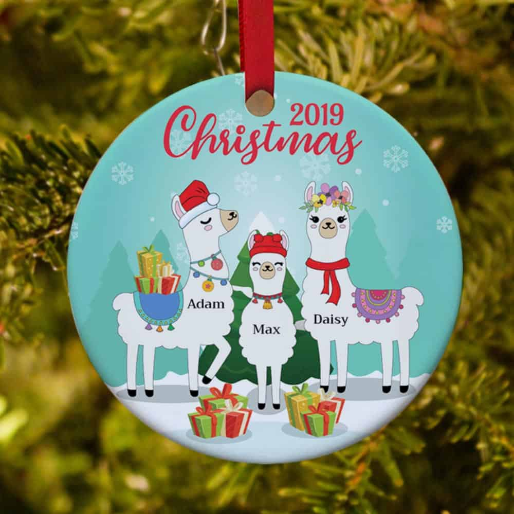 llama family personalized christmas ornament