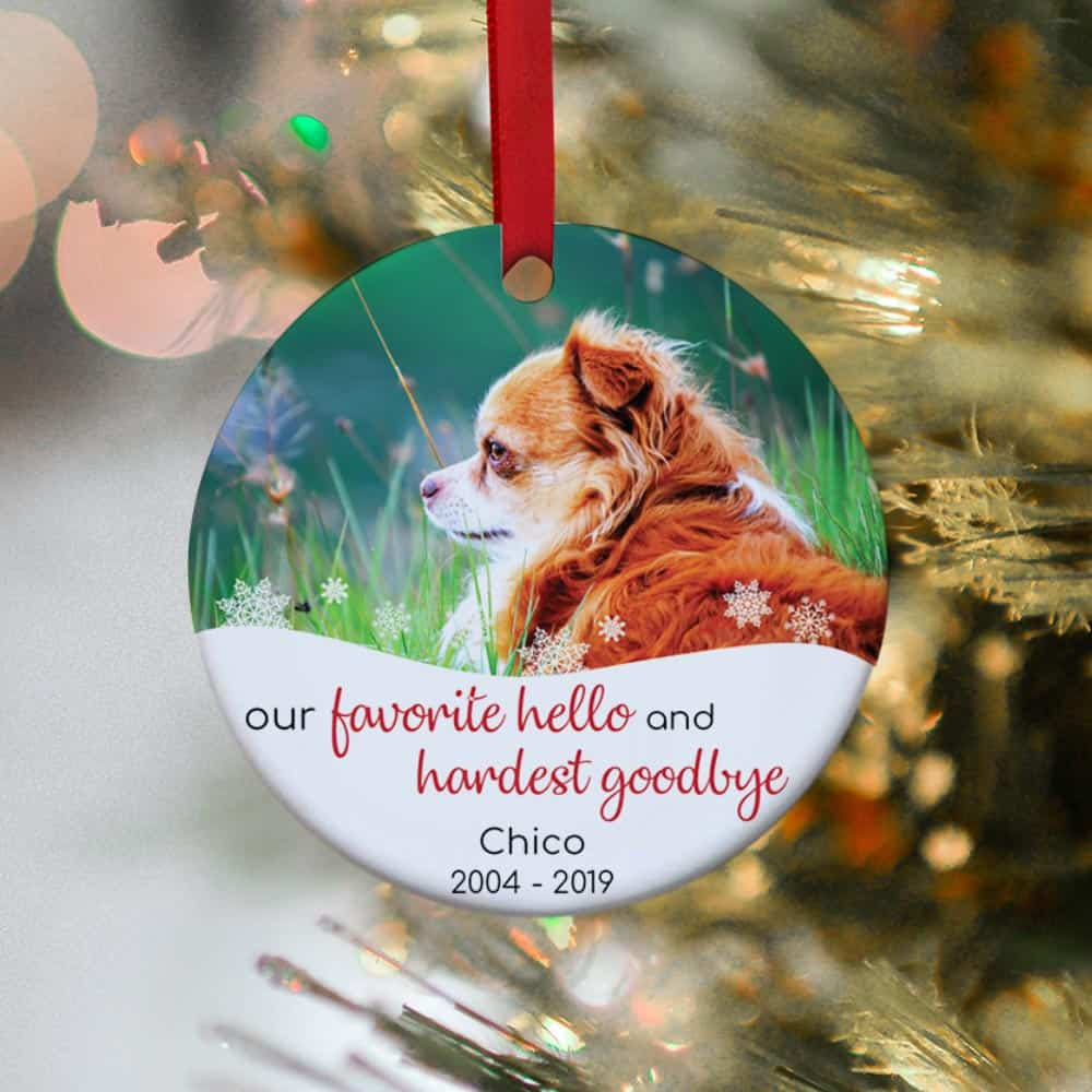 our favorite hello and hardest goodbye - pet photo christmas ornament - gift idea for pet lovers