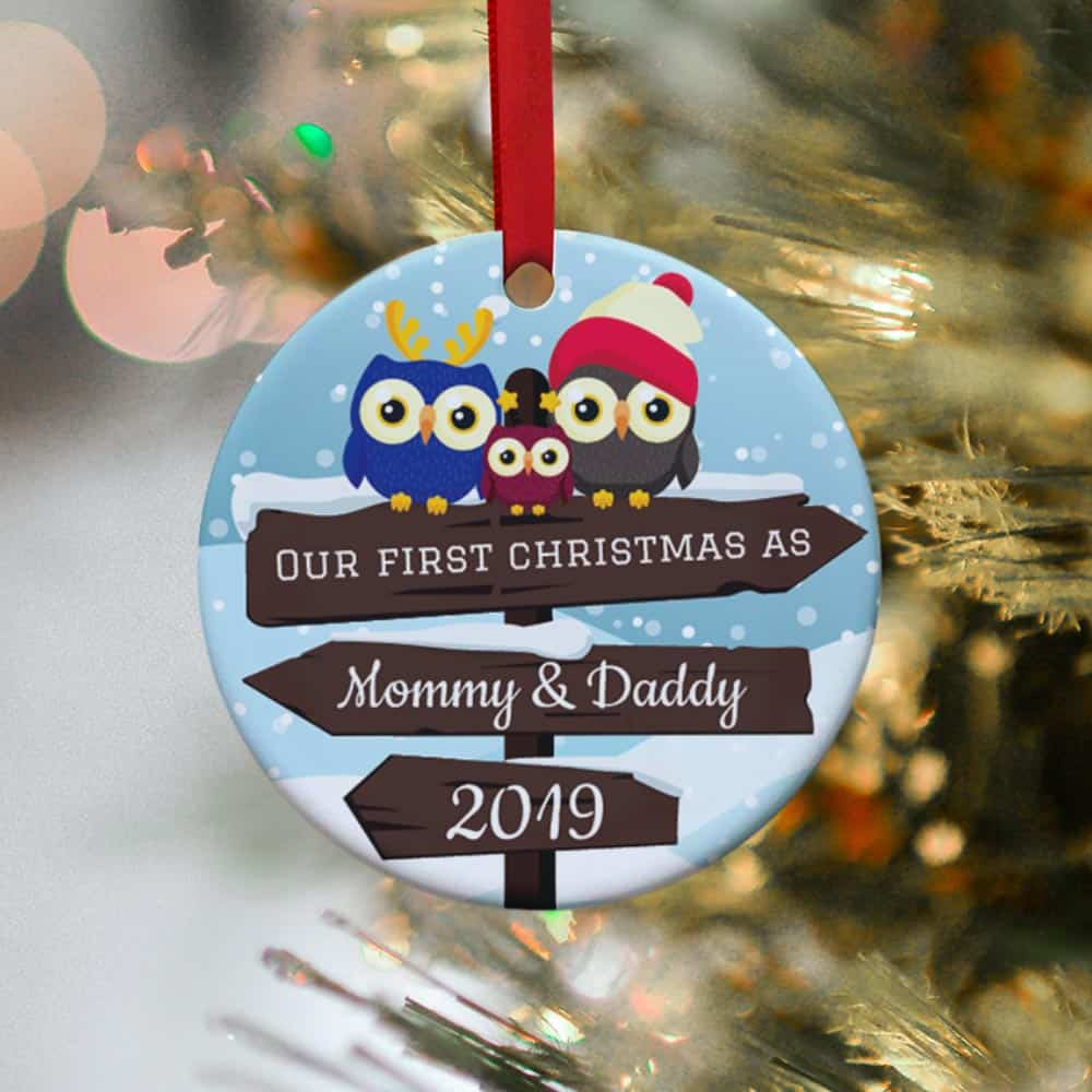 our first christmas as mommy and daddy family personalized christmas ornament