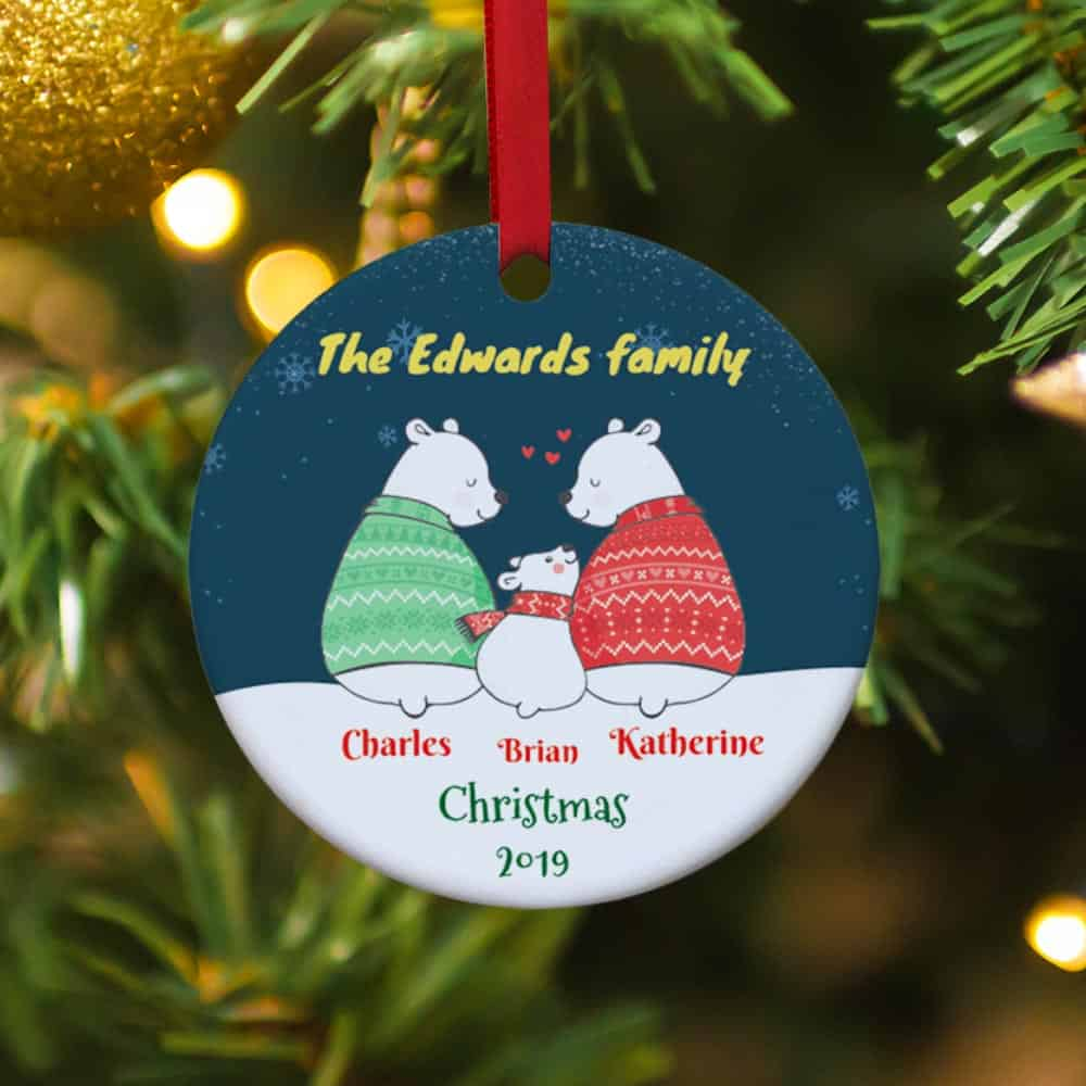 polar bear family personalized christmas ornament