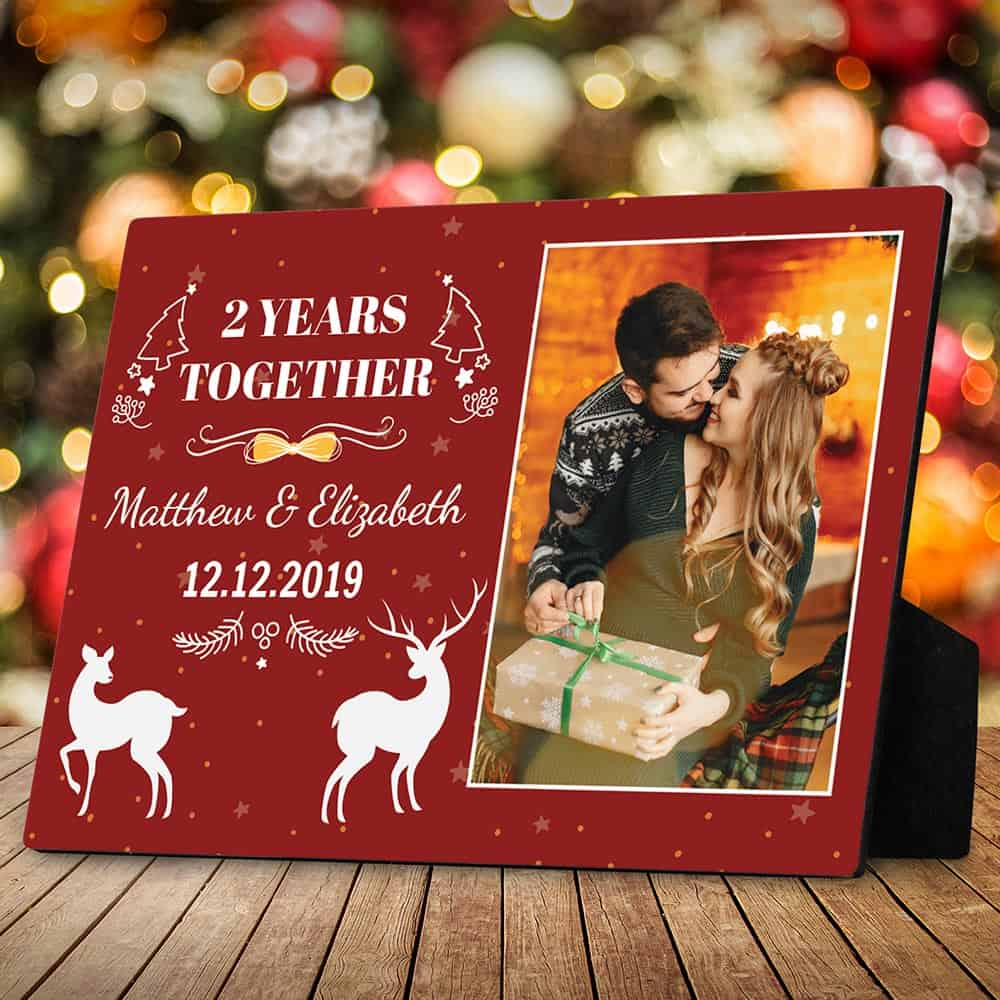 custom anniversary year christmas desktop photo plaque
