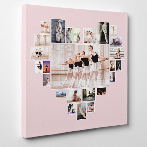 Heart Photo Collage Canvas Print with pink background