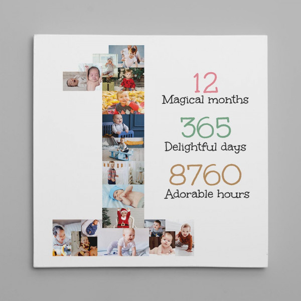 a photo collage canvas with number one - 1st birthday gift