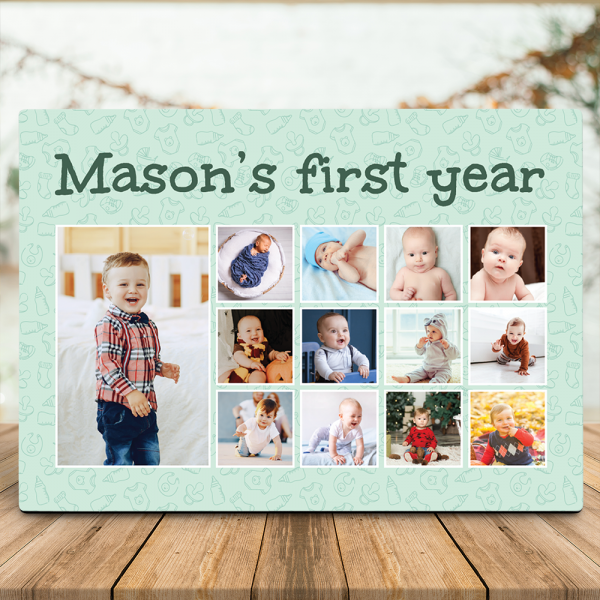 Baby's First Year Photo Collage Desktop Plaque
