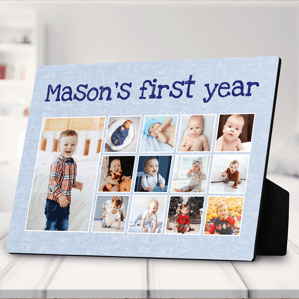 Baby's First Year Photo Collage Desktop Purple Plaque
