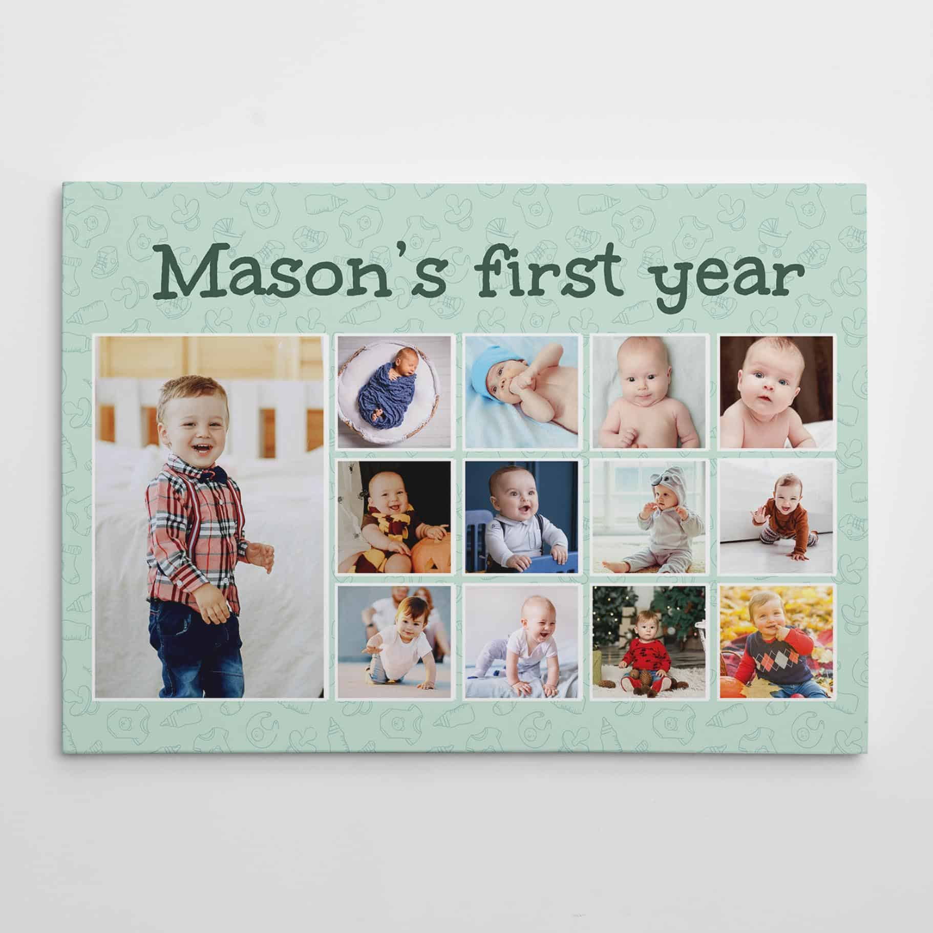 baby's first year photo collage canvas print