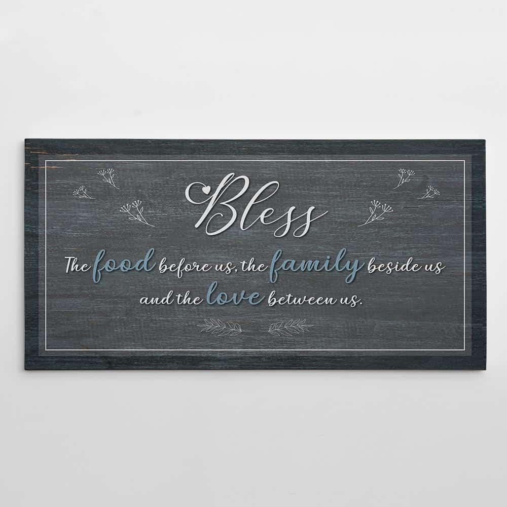 bless the food before us prayer wall art canvas sign