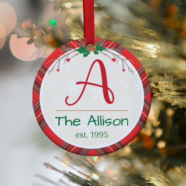 Initial Family Name Personalized Christmas Ornament