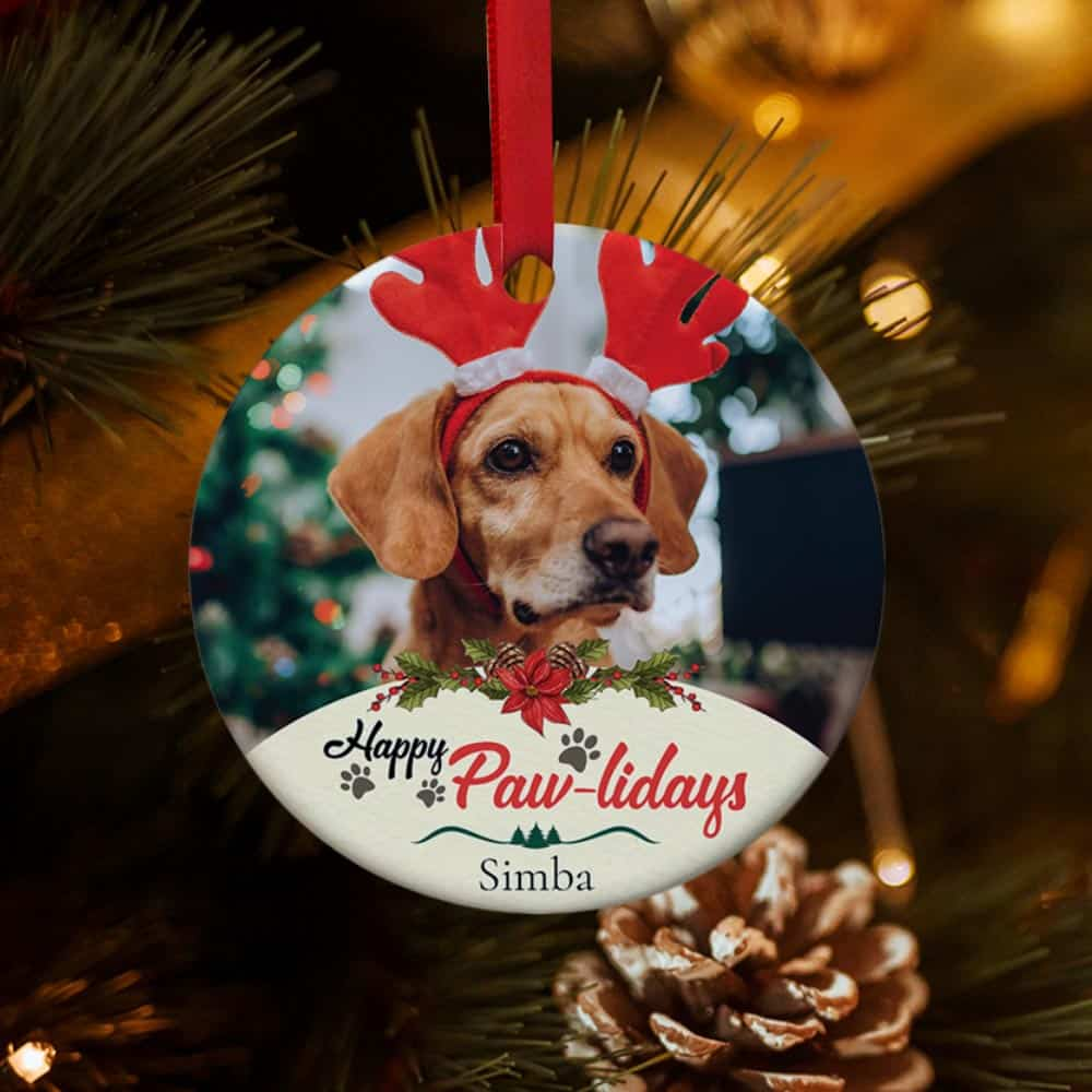 Happy Pawlidays Personalized Dog Christmas Ornament
