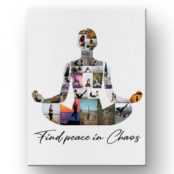 Find Peace In Chaos - Yoga Photo Collage Canvas Print