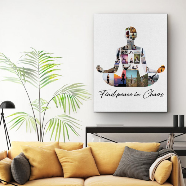 Find Peace In Chaos - Yoga Photo Collage Canvas Print above a sofa