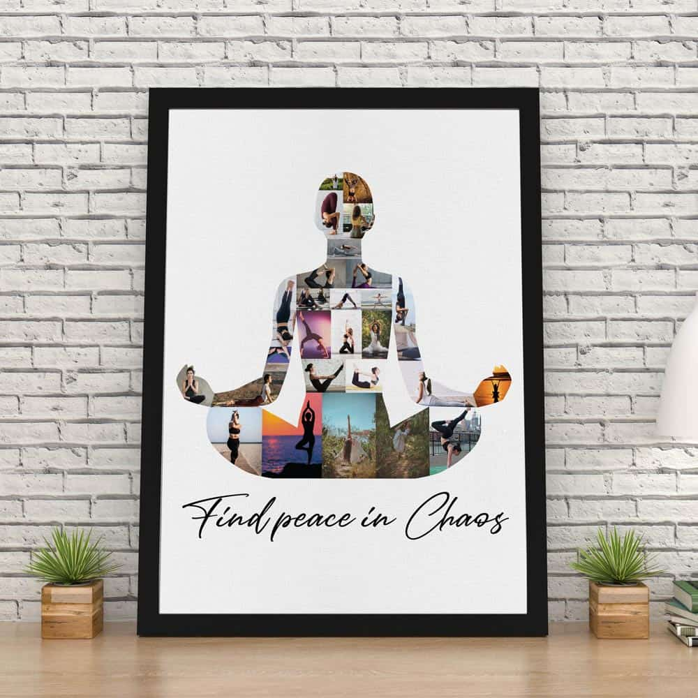 Find Peace In Chaos - Yoga Photo Collage Canvas Print on the table