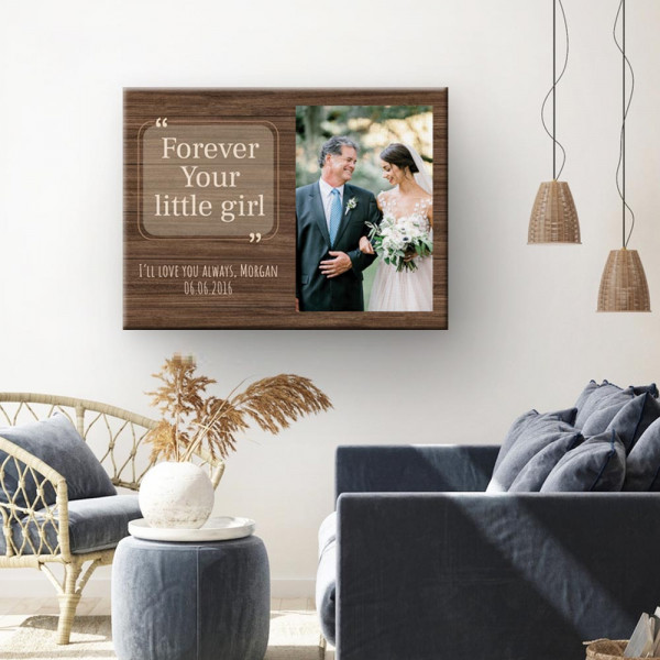 Forever Your Little Girl Custom Photo Canvas hanging above the chair and sofa