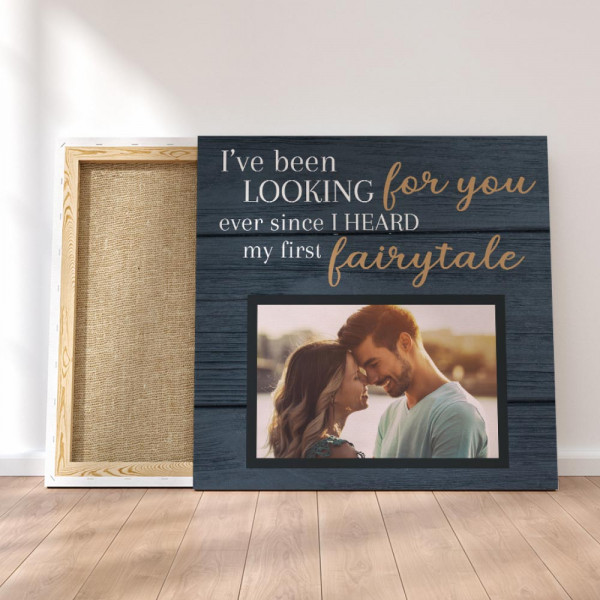 I've Been Looking For You - Square Custom Photo Canvas on the floor