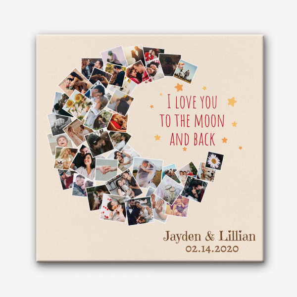 i love you to the moon and back - custom photo collage wall art canvas print