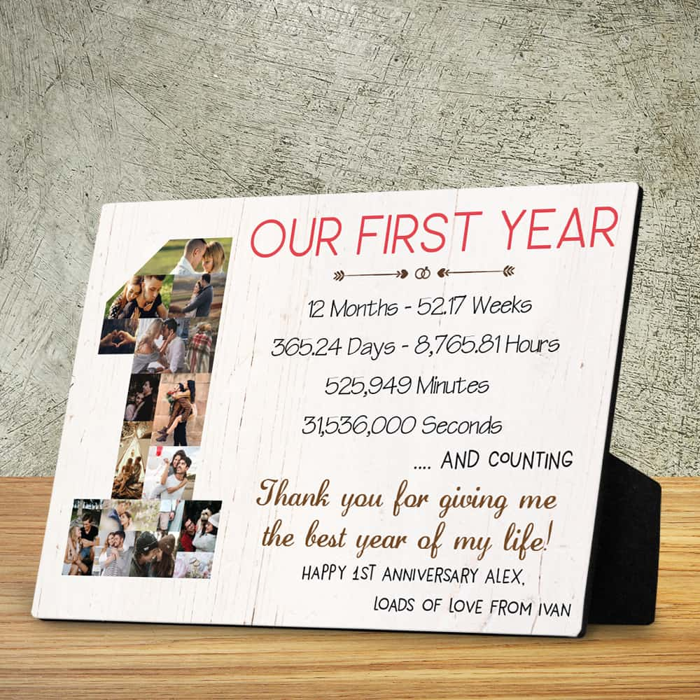 One Year Anniversary Photo Collage Desktop Plaque