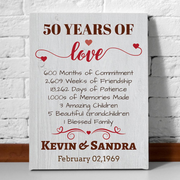 50 years of love 50th anniversary canvas print
