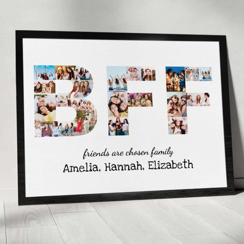 BFF Friends Are Chosen Family Photo Collage Canvas Print with black frame
