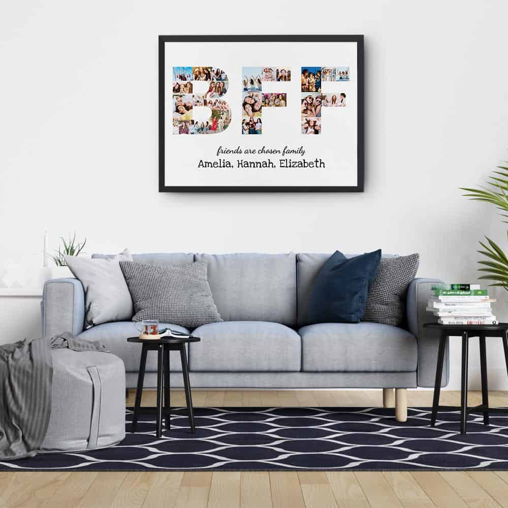 BFF Friends Are Chosen Family Photo Collage Canvas Print with black frame over the sofa