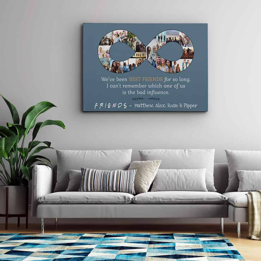 Best Friend Infinity Photo Collage Canvas Print slate gray background above a sofa