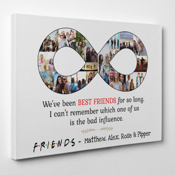 Best Friend Infinity Photo Collage Canvas Print white background