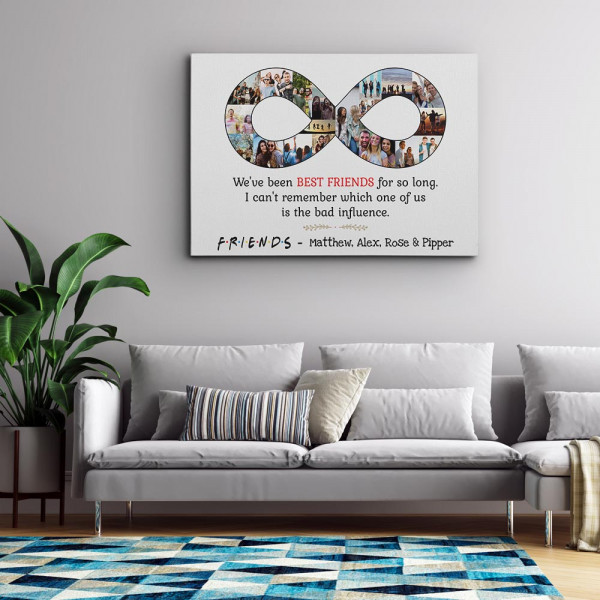 Best Friend Infinity Photo Collage Canvas Print white background above a sofa