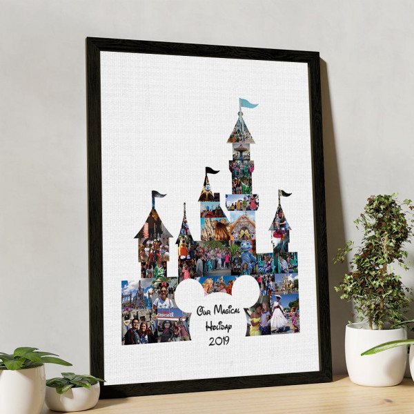 Our Magical Holiday Photo Collage Canvas Print with black frame