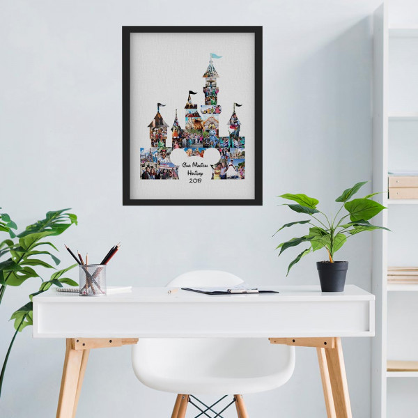 Our Magical Holiday Photo Collage Canvas Print with black frame above a desk