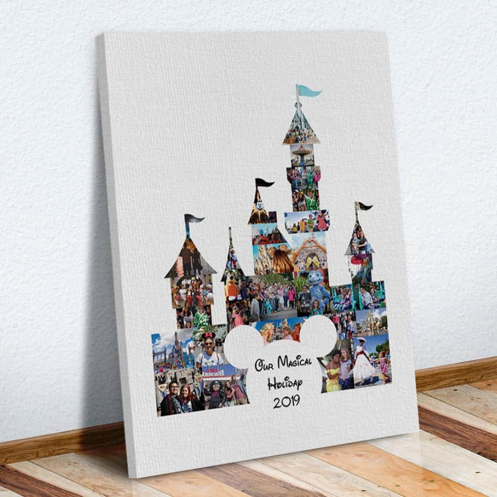 Our Magical Holiday Photo Collage Canvas Print on the floor