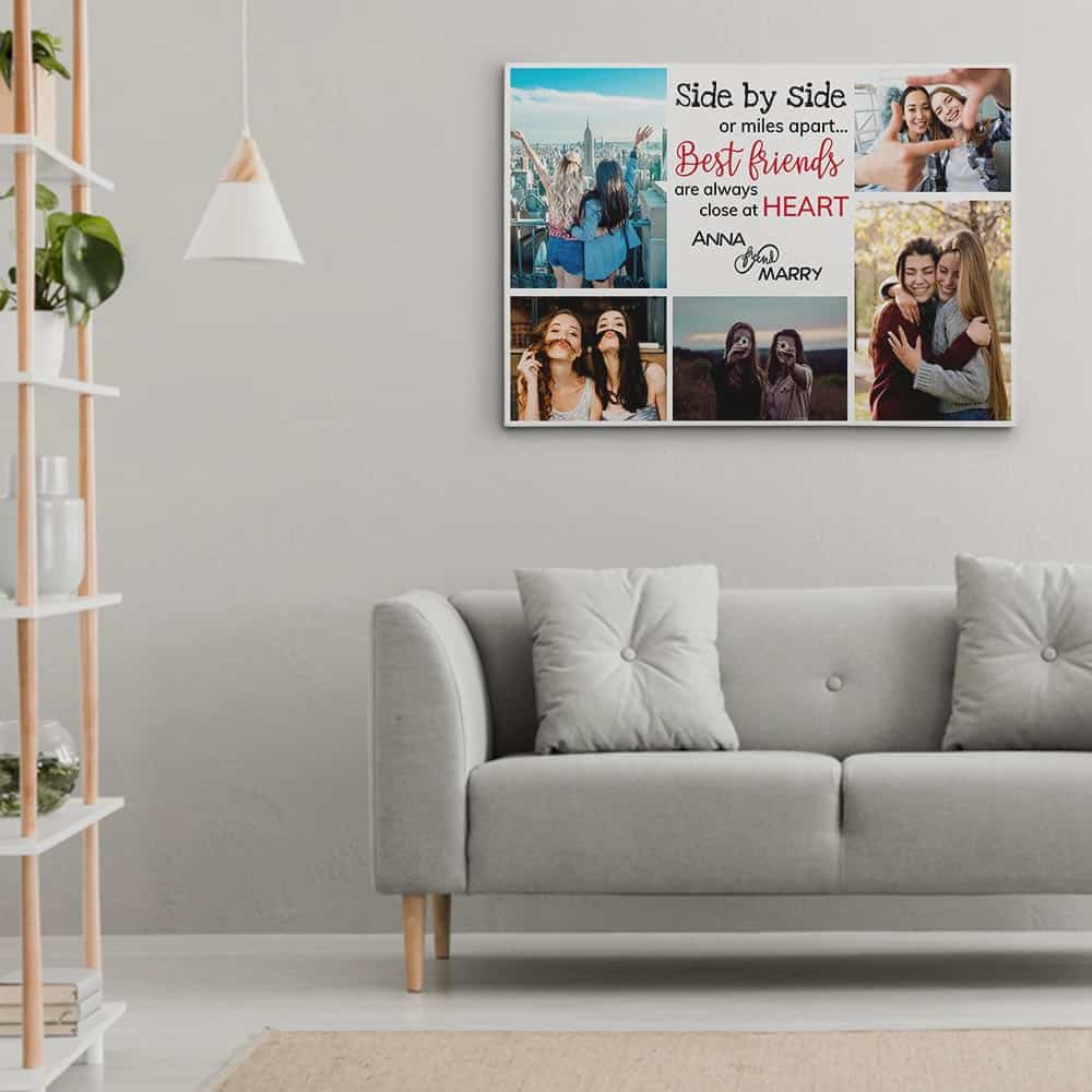 Side By Side Or Miles Apart - Best Friends Photo Collage Canvas Print above a sofa