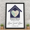 Home Sweet Home Custom Map Canvas Print with black frame