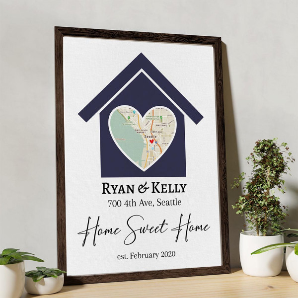 Home Sweet Home Custom Map Canvas Print on a table
