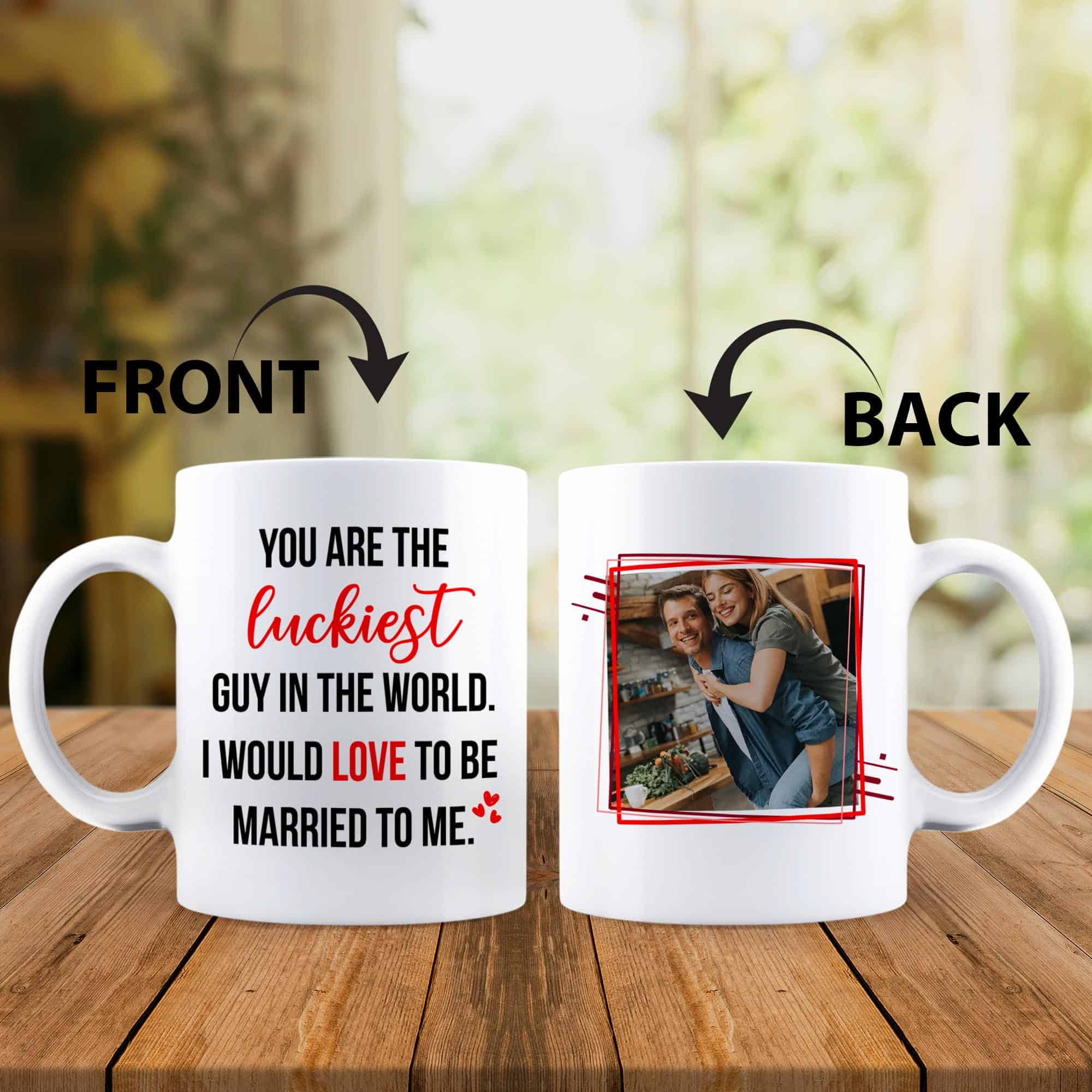 you are the luckiest guy in the world custom photo mug