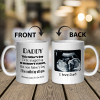 """A mug for dad-to-be with a funny saying: """"Daddy This Father's Day I'll Be Snuggled Up In Mommy's Tummy"""""""
