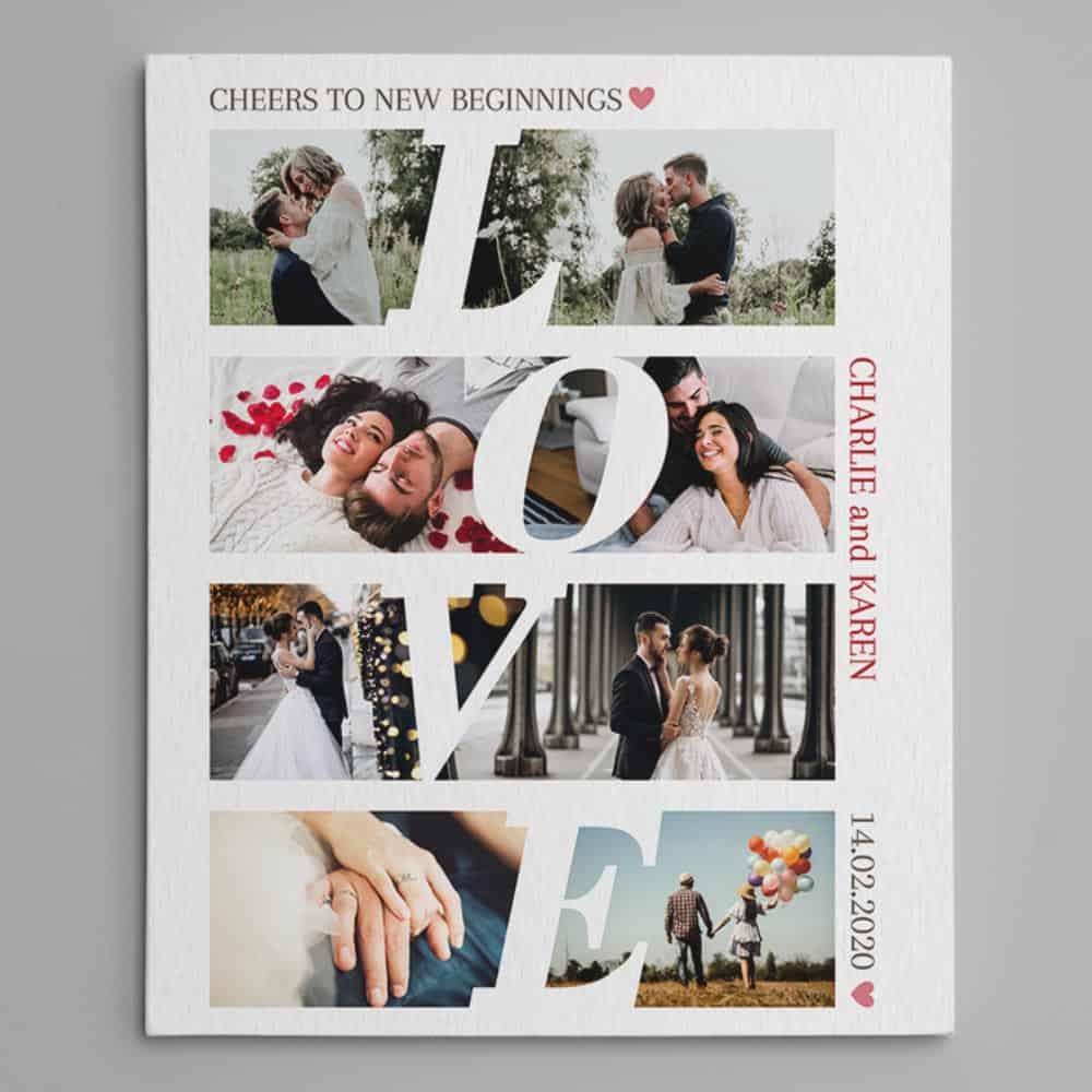 cheers to new beginnings photo collage canvas print