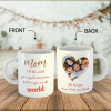 Mom To The World You May Be One Person, But To Us You Are The World - Photo Mug With Heart Shape Photo
