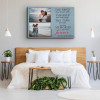 """a custom canvas print with 2 photos and the message """"The sand may brush off"""" hung above the bed"""