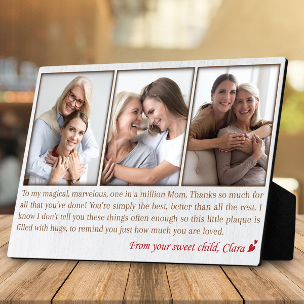 Mom, You Are One In A Million - Desktop Photo Plaque With White Background