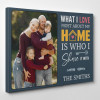 What I Love Most About My Home Is Who I Share It With Canvas Print - Side View