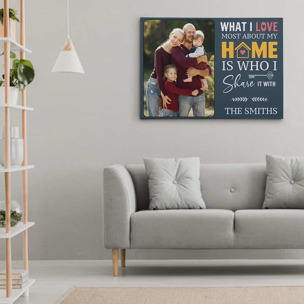 What I Love Most About My Home Is Who I Share It With Canvas Print Hung Above A Sofa