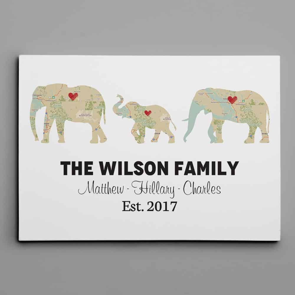 Personalized Elephant Family Print - Retro Map Canvas Print - 1 Kid Option