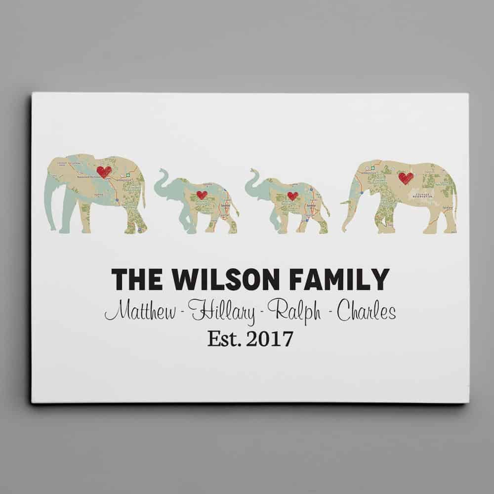 Personalized Elephant Family Print - Retro Map Canvas Print - 2 Kids Option
