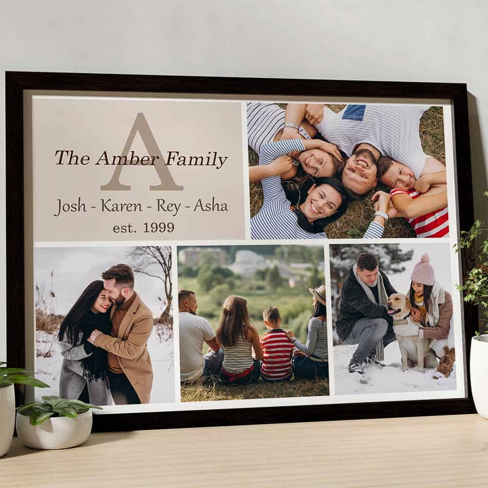 Personalized Family Name Monogram Photo Collage Canvas with Black Frame