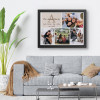 Personalized Family Name Monogram Photo Collage Canvas With Black Frame Hung On The Wall