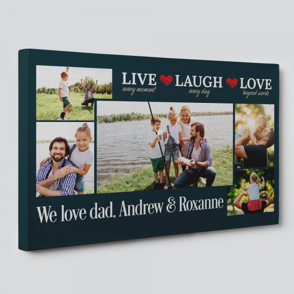 Live Every Moment Laugh Every Day Love Beyond Words - Photo Collage Canvas - Side View