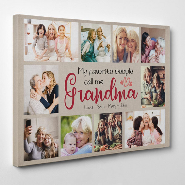 My Favorite People Call Me Grandma - Photo Collage Canvas Print - Side View