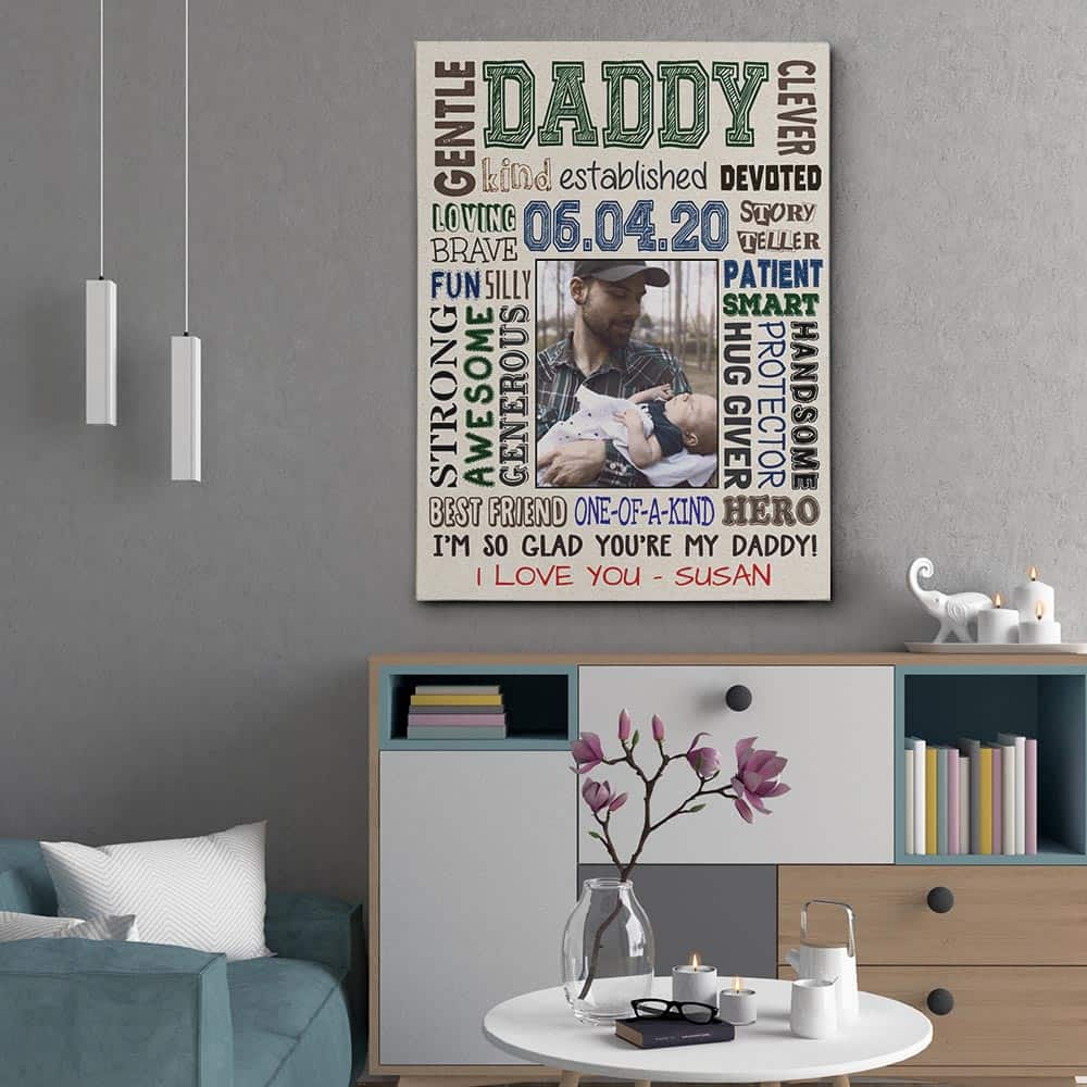 First Father's Day Daddy Character Custom Photo Canvas Print