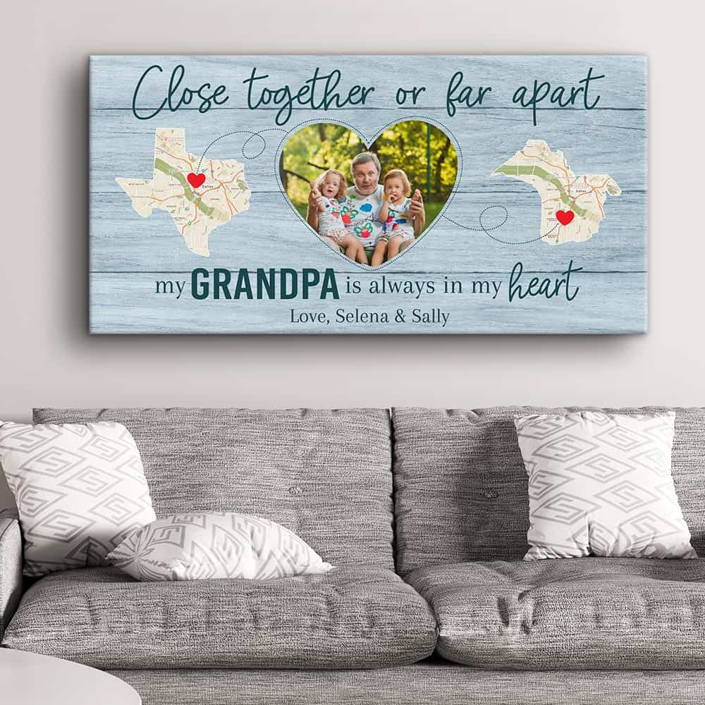 Close Together Or Far Apart, My Grandpa Is Always In My Heart - State Map Canvas Print