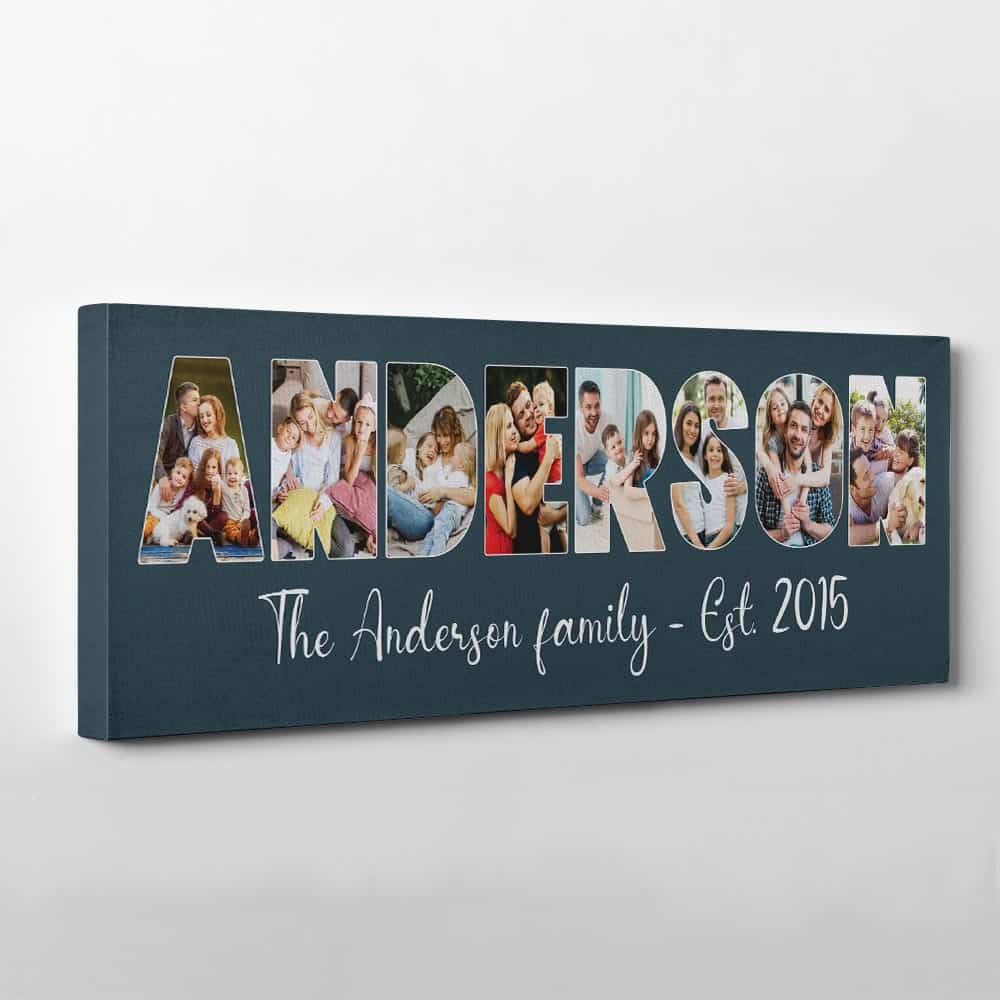 Custom Family Name Photo Letter Canvas Print - Oxford Blue Background - Side View